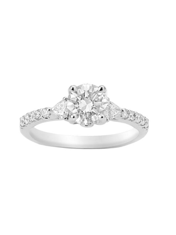 Round & Trillion Cut Diamond Engagement Ring