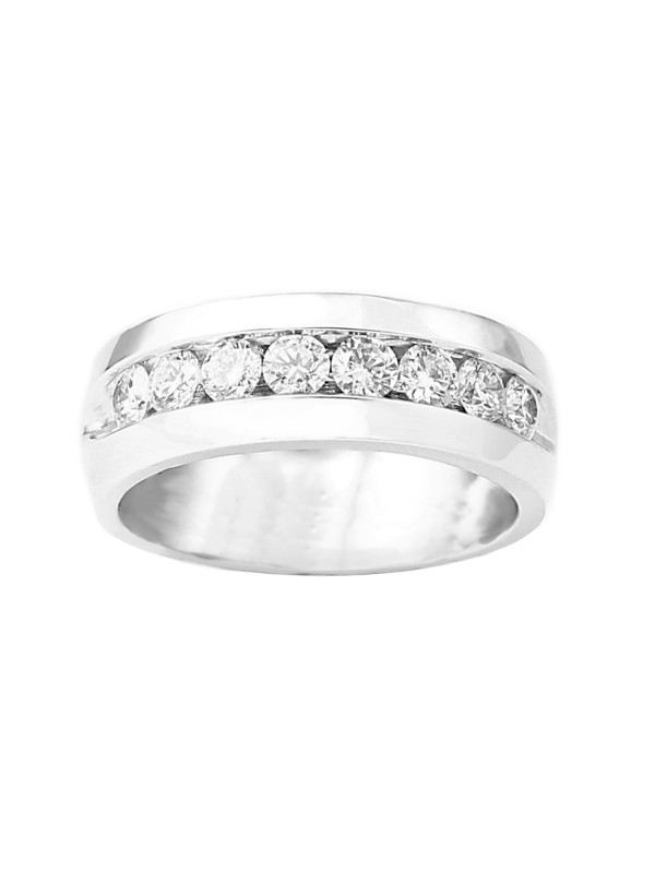 Channel Set Diamond Ring in 14K White Gold