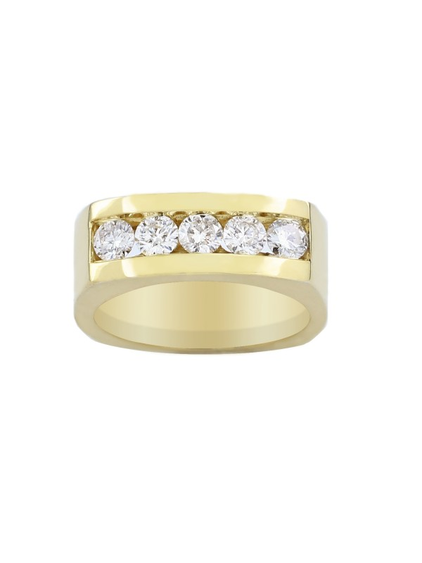 Square Shank Channel Set Diamond Ring in 10K Yellow Gold