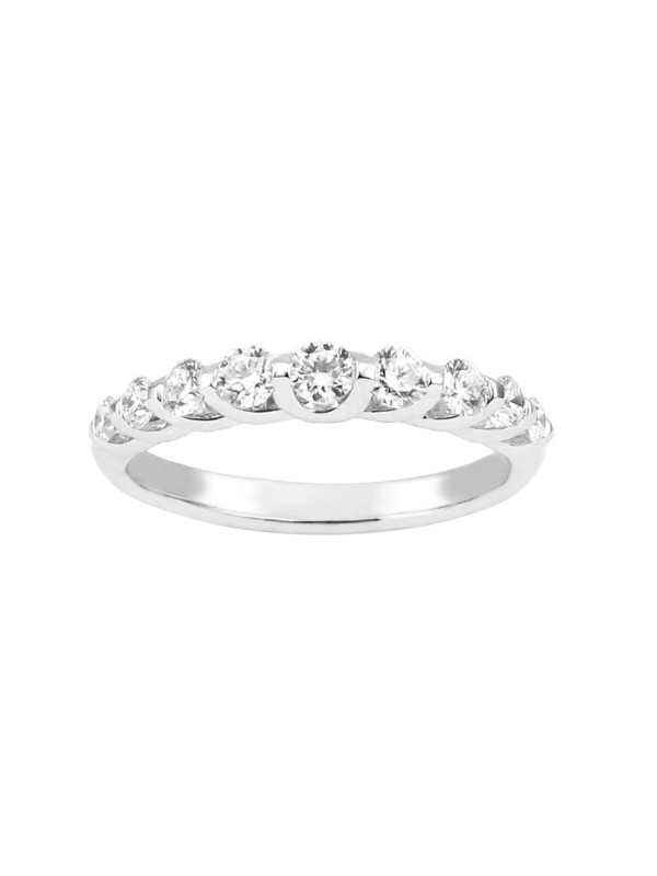 Shared Prong Diamond Band in 14K White Gold