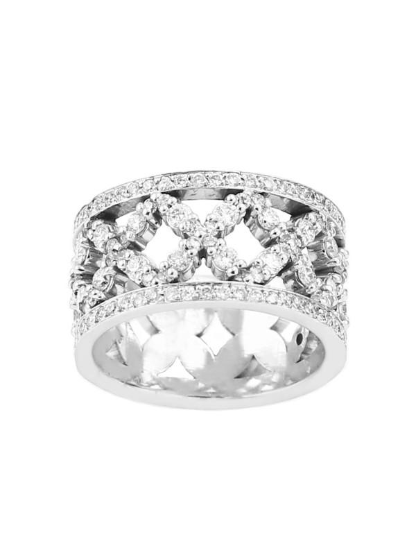 Pave Set Diamond Ring in 10K White Gold