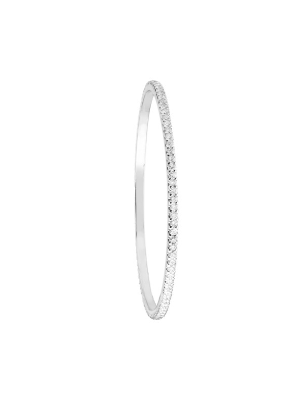 Eternity Diamond Bangle Bracelet 14K White Gold