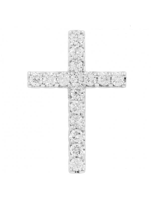 14K White gold Diamond cross