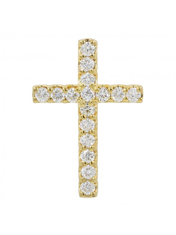 14K Yellow gold Diamond cross
