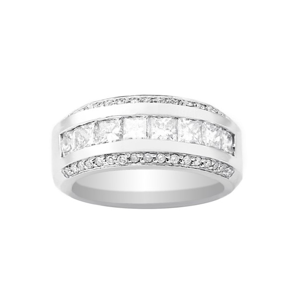 Channel and Pave Set Diamond Ring