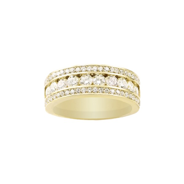 Channel & Pave Set Diamond Ring in 14K Yellow Gold