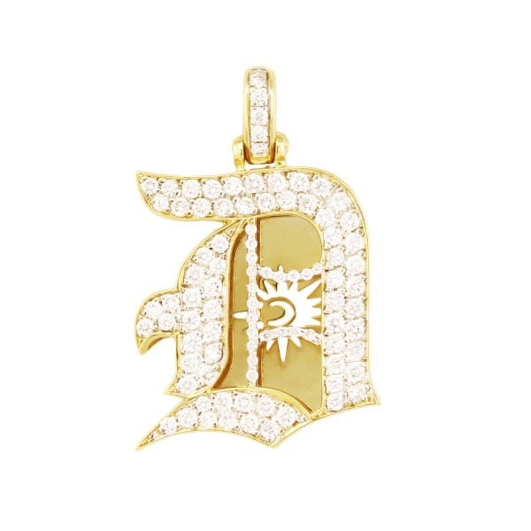 Old English D Diamond Pendant 14K Yellow Gold