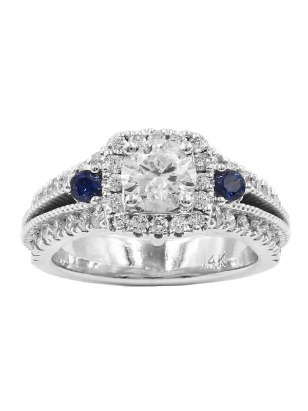 Halo Diamond Engagement Ring with Sapphire Stones