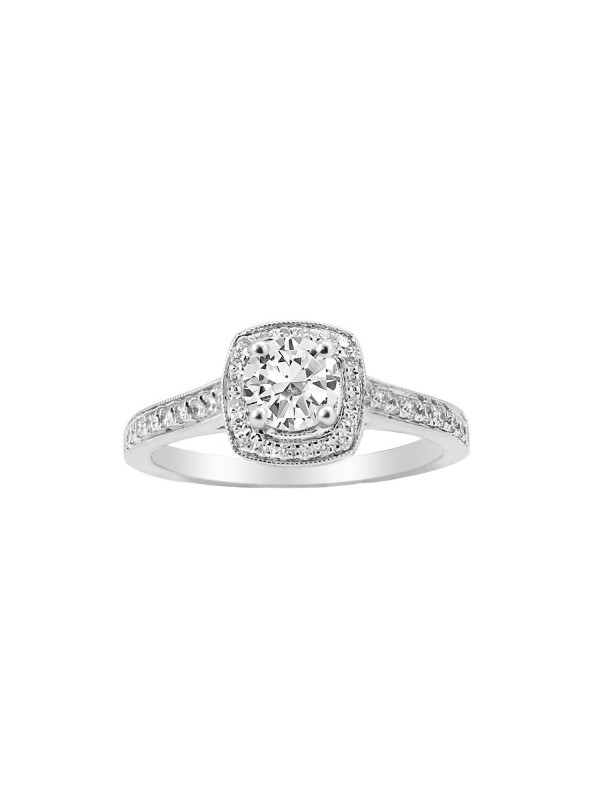 Square Halo with Round Cut Diamond Engagement Ring