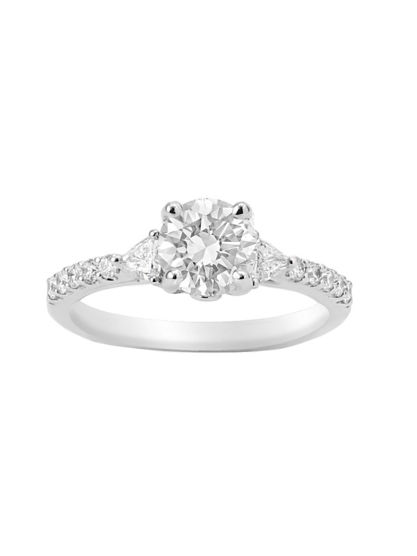 Round & Trillion Cut Diamond Engagement Ring