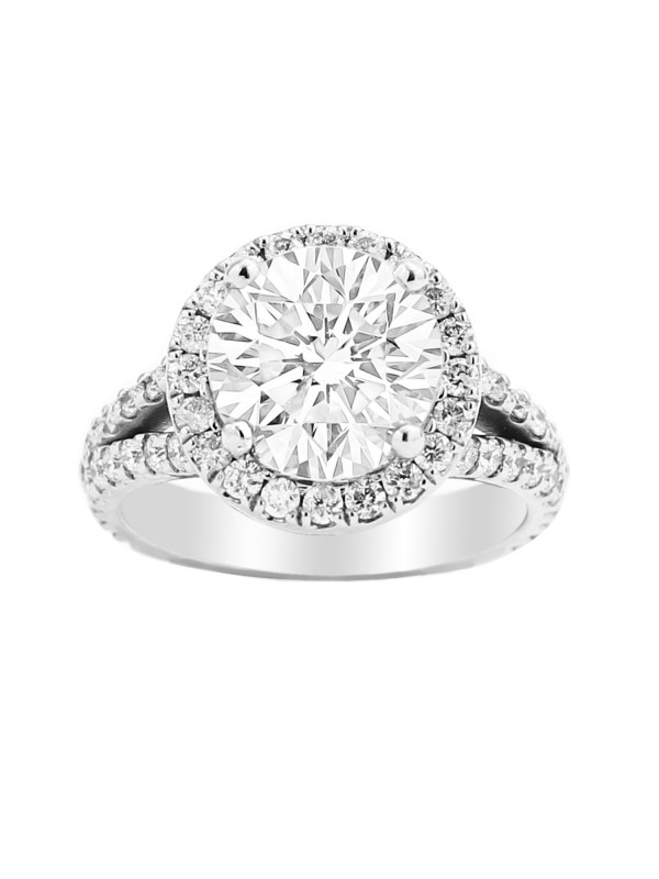 Halo Split Shank Diamond  Engagement Ring in 14K White Gold