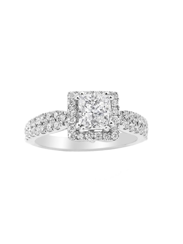 Square Halo with Princess Cut Diamond Engagement Ring