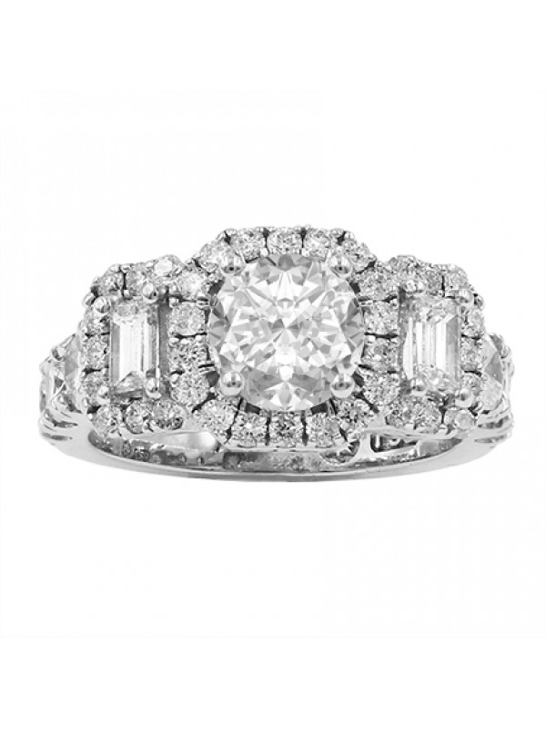 Three Stone Halo Diamond Ring