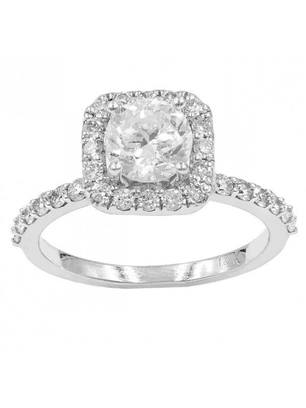 Semi-Square Halo with Round Cut Diamond Engagement Ring