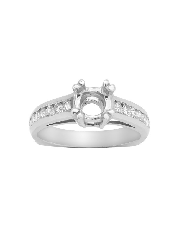 Channel Set Diamond Mounting in 14K White Gold
