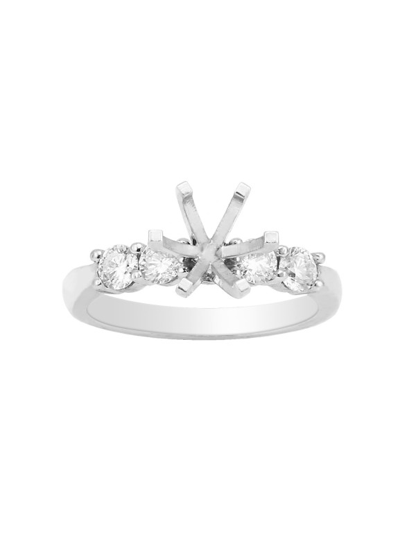 Shared Prong Wedding Set Mounting in 14K White Gold