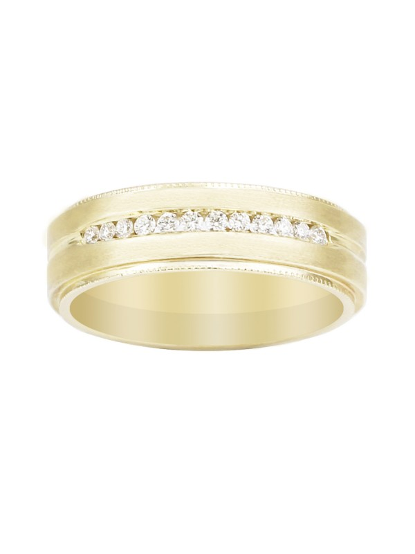 Milgrain Inlay Diamond Band in 14K Yellow Gold