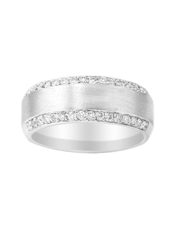 Brushed Pave Set Diamond Ring