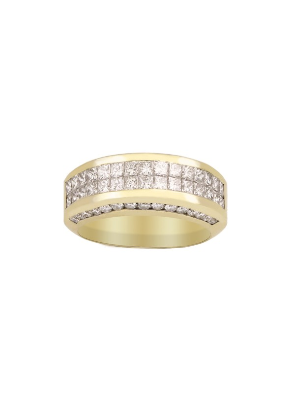 High Polished Channel and Invisible Set Diamond Ring
