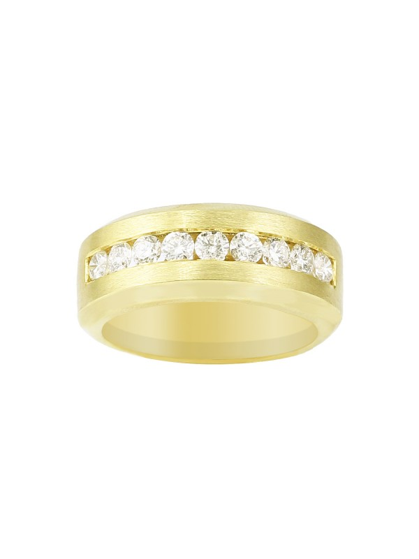 Brushed Channel Set Diamond Ring in 14K Yellow Gold
