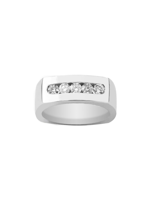 Square Shank Channel Set Diamond Ring in 10K White Gold