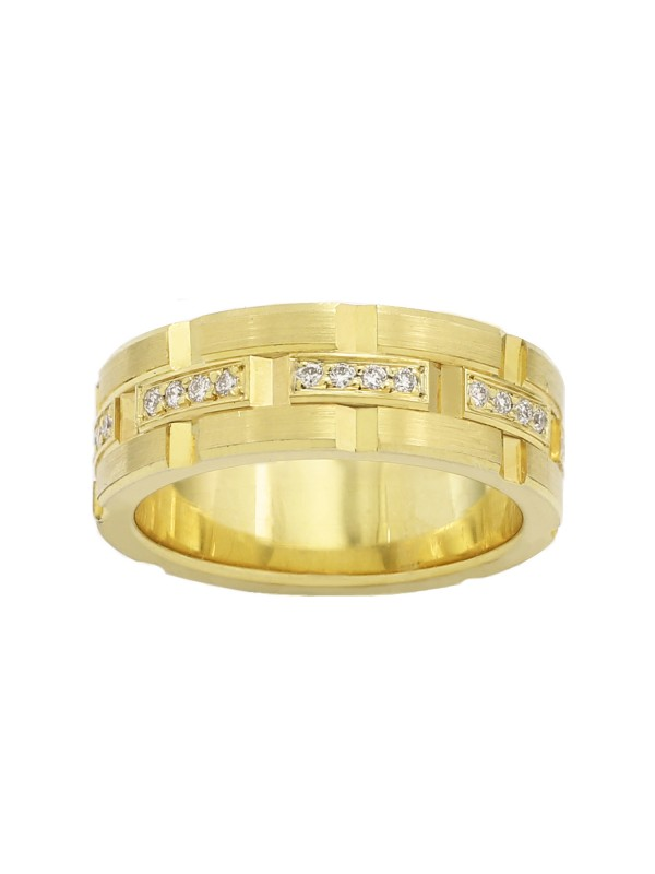 Groove Cut Pave Set Diamond Band in 10K Yellow Gold