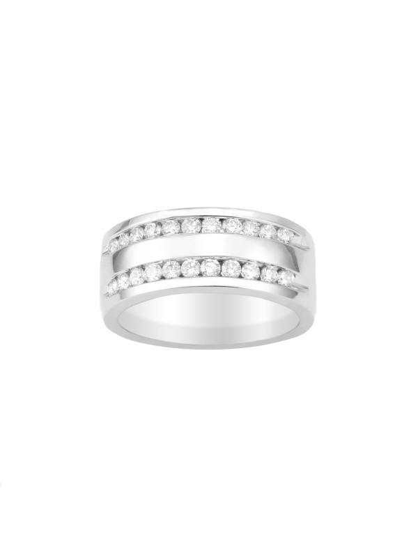 Double Row Channel Set Diamond Ring