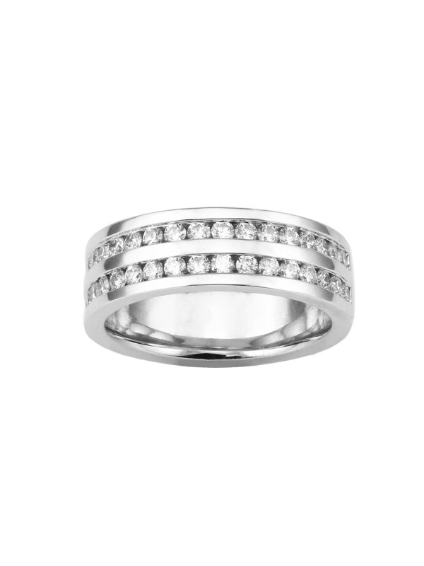 Double Row Channel Set Diamond Ring in 14K White Gold