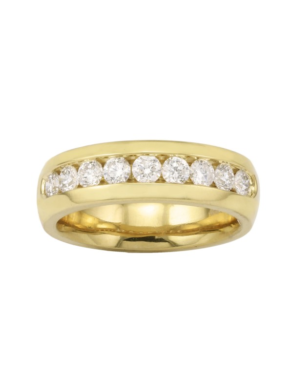 High Polished Channel Set Diamond Ring in 14K Yellow Gold
