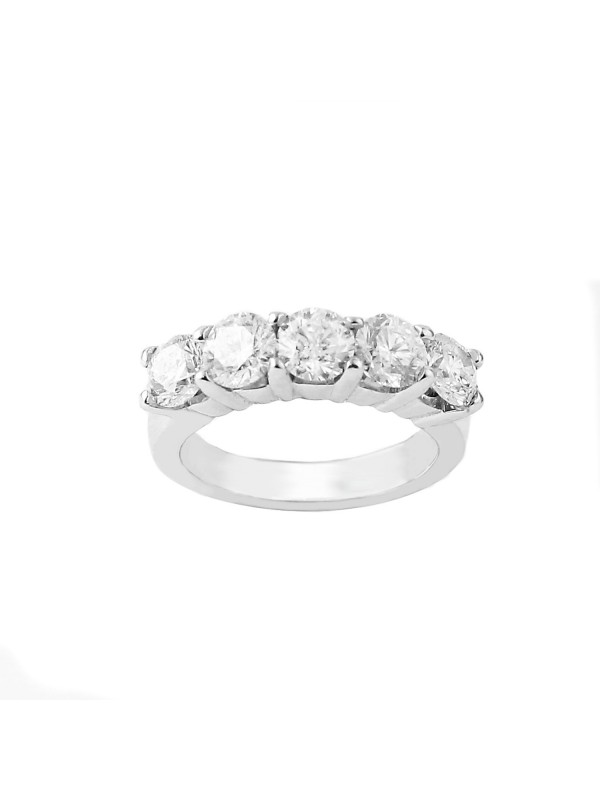 5 Stone Shared Prong Band in 14K White Gold