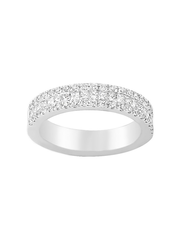 3 Row Diamond Band in 14K Yellow Gold