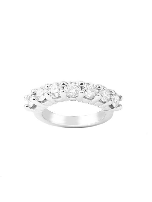 7 Stone Shared Prong Band in 14K White Gold