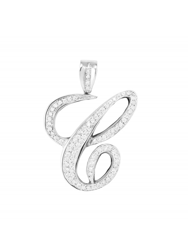Script C Diamond Pendant 14K White Gold