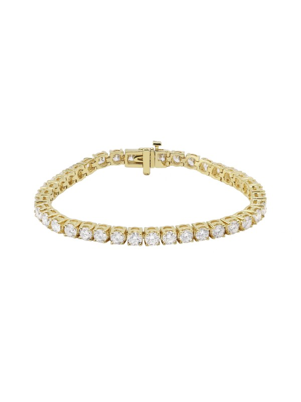 Square 4 Prong Set Diamond Tennis Bracelet 14K Yellow Gold