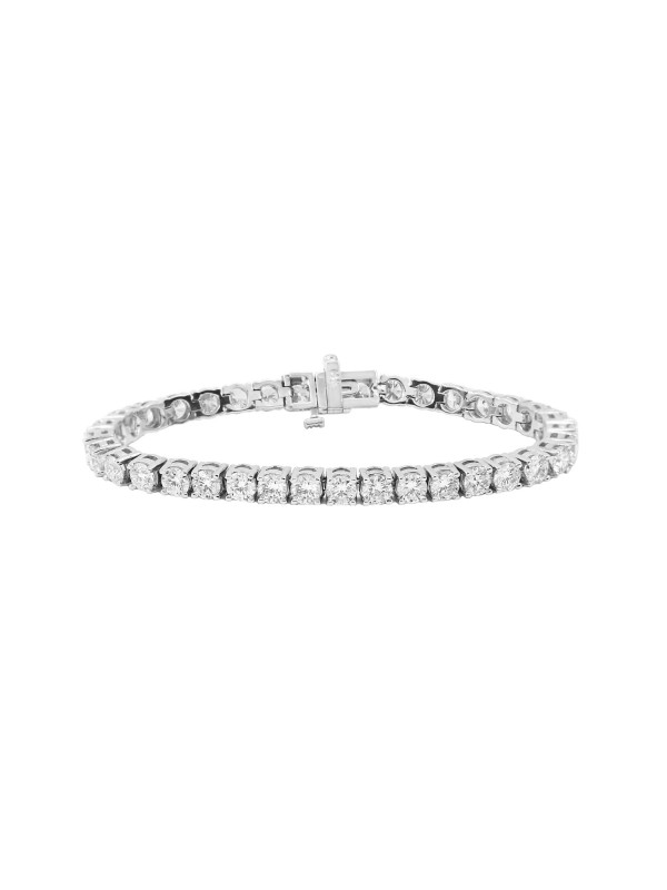 Square 4 Prong Set Diamond Tennis Bracelet 14K White Gold