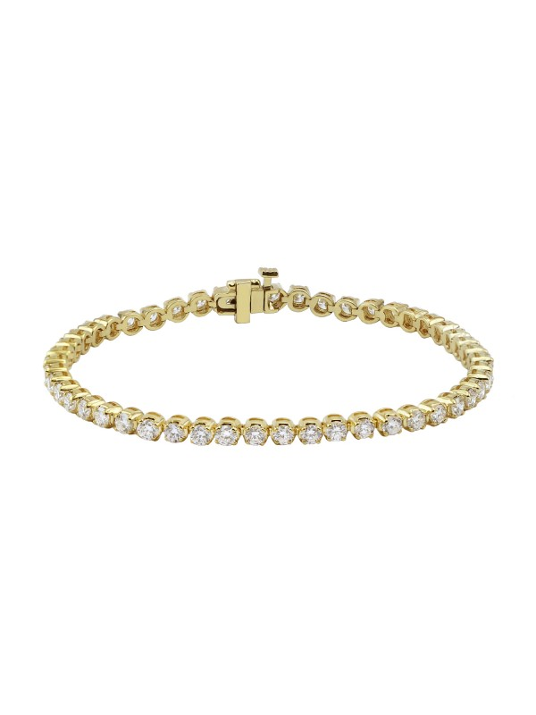 Round 4 Prong Set Diamond Tennis Bracelet 14K Yellow Gold