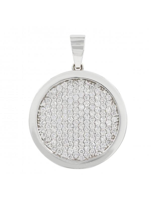 Diamond filled round 14K white gold pendant