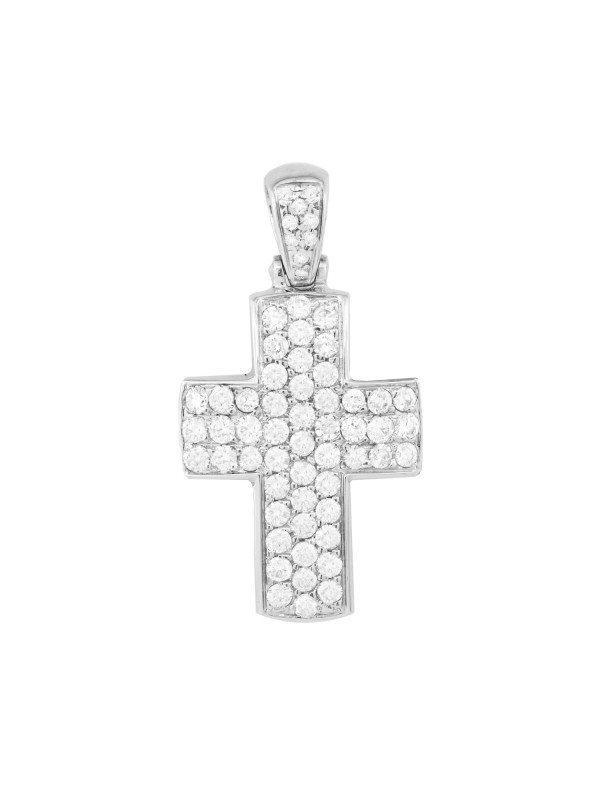 Pave Set Diamond Cross Pendant in 14K White Gold