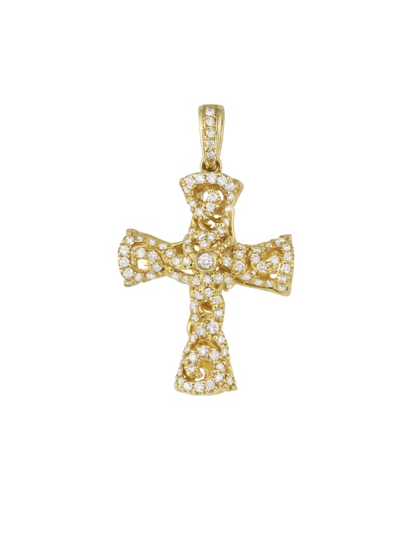 Pave Set Diamond Cross Pendant