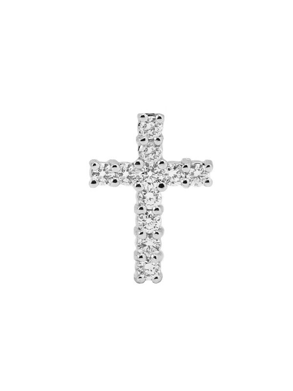 Prong Set Diamond Cross Pendant 14K White Gold