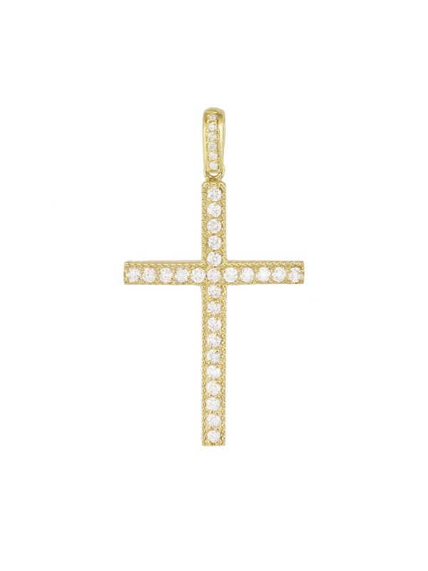 Milgrain Pave Set Diamond Cross Pendant 14K Yellow Gold
