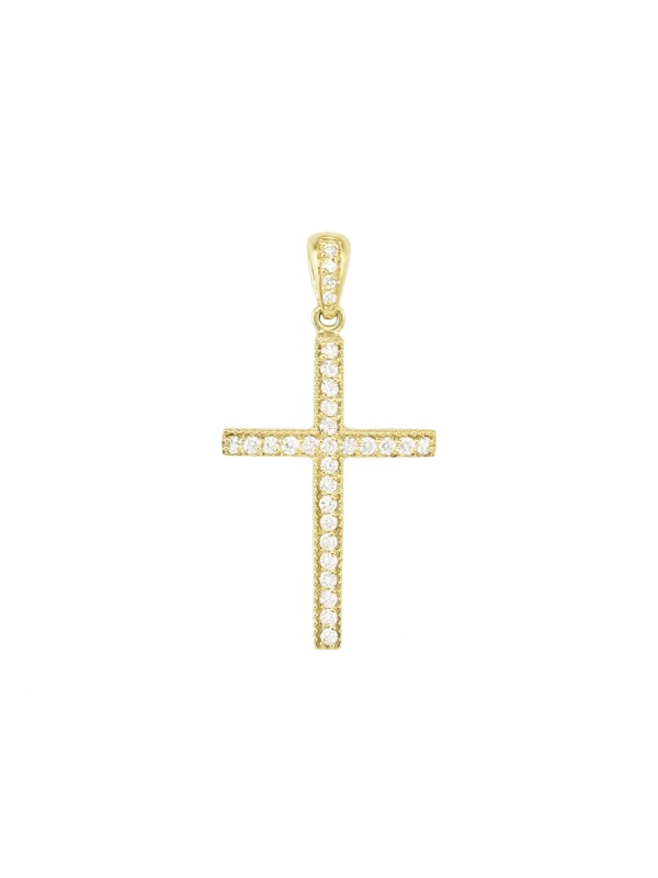Pave Set Diamond Cross Pendant in 14K Yellow Gold