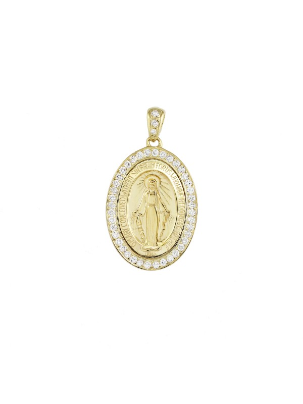 Pave Set Diamond Miraculous Medal Pendant 14K Yellow Gold