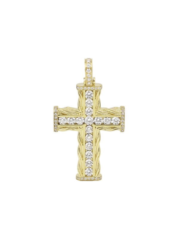 Channel Set Diamond Cross Pendant 14K Yellow Gold