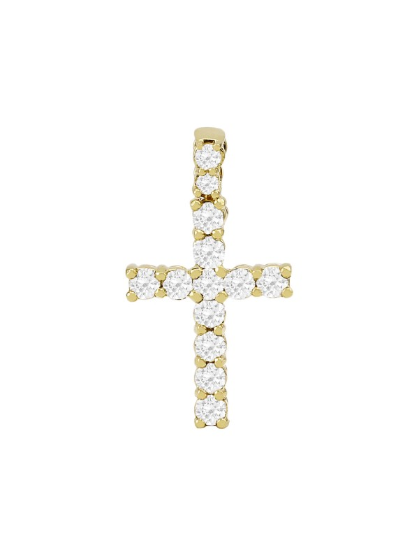 Prong Set Diamond Cross Pendant 14K Yellow Gold