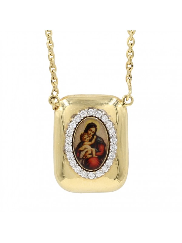 Mary Holding Infant Jesus Diamond Pendant