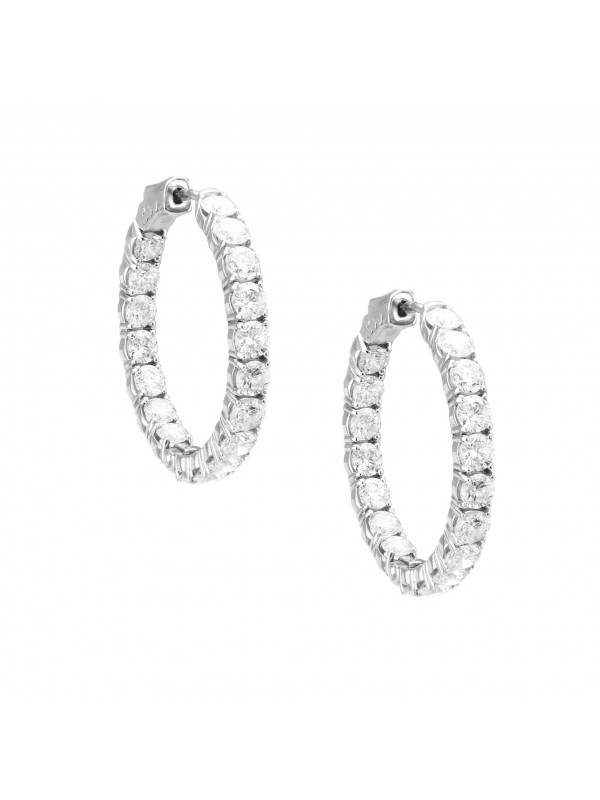 Diamond Hoop Earrings 14K White Gold