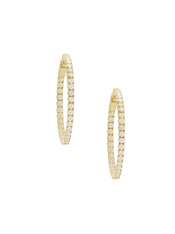 Diamond Hoop Earrings 14K Yellow Gold