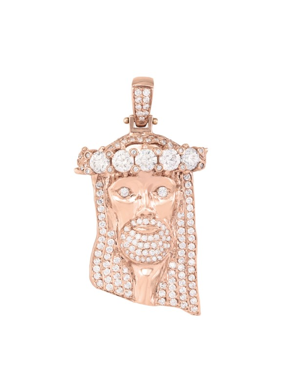Pave Set Jesus Pendant 14K Rose Gold