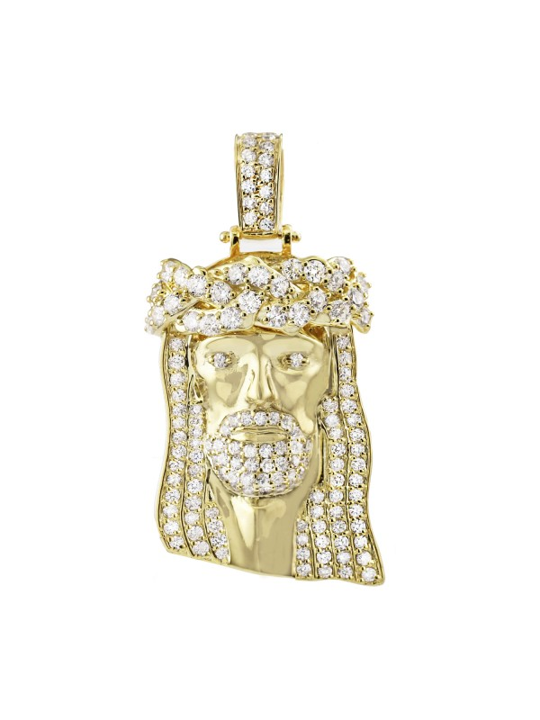 Pave Set Diamond Jesus Pendant